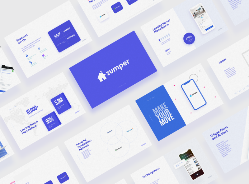Zumper Presentation Deck ui dashboard sales deck blue product design mockup template keynote typography powerpoint logo data visualization infographic data icon presentation design pitch deck pitch design presentation