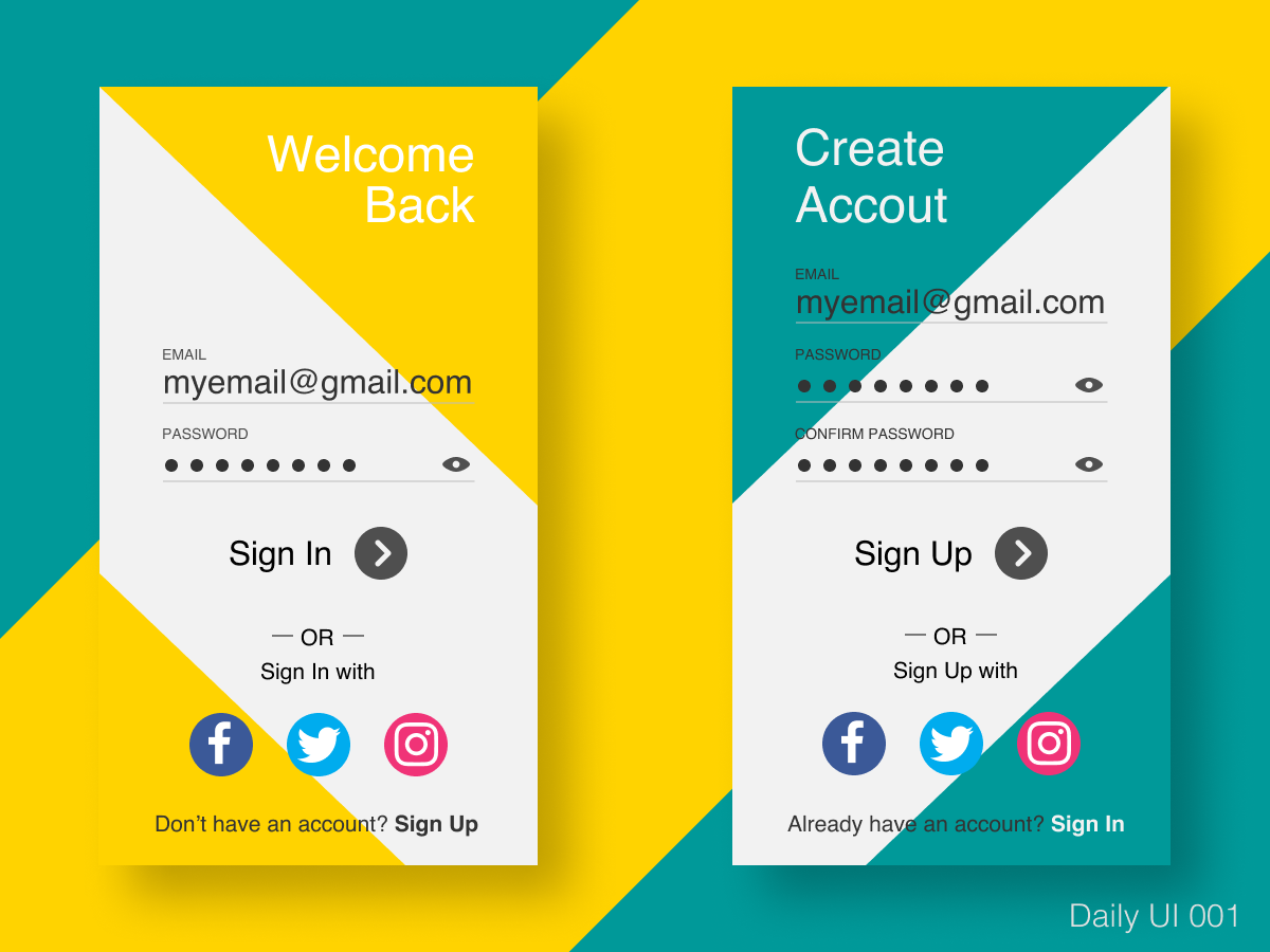 Daily UI 001 hello dribbble app login sign up signin sign in signup figmadesign figma ui dailyui 001 daily ui dailyui