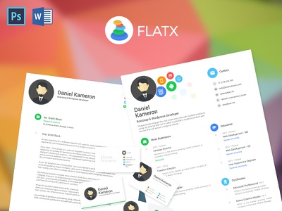 Flatx Resume template resume microsoft word photoshop card business letter cover document design cv