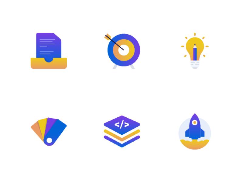 Design Process Icons - Pixack design process web ux ui multicolor minimal illustration icons gradient