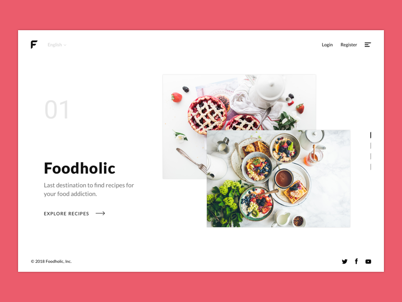 Foodholic - Recipes for Food Addicted Header webdesign web product page minimal landing flat food