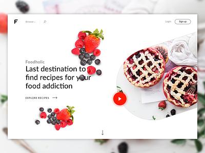 Foodholic - Recipes for Food Addicted Header V2 food flat landing minimal page product web webdesign