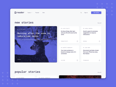 Reader - Landing Page article webdesign web sketch product stories page landing story
