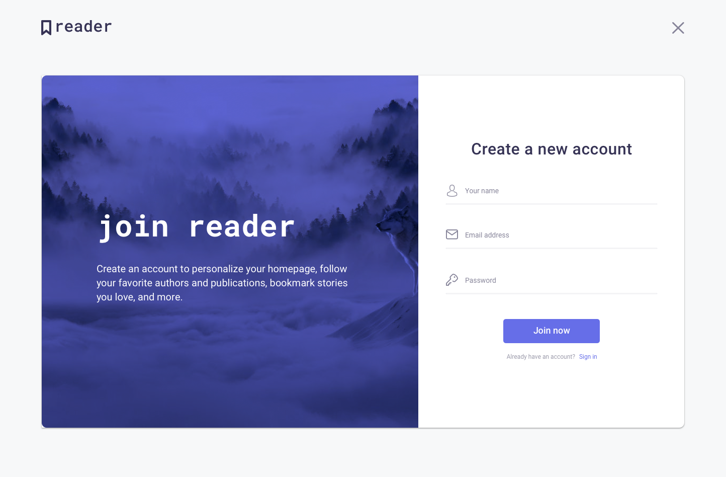 Full preview   reader signup