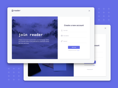 Reader - Sign up & Sign in auth authentication account login signin signup webdesign web story stories sketch article