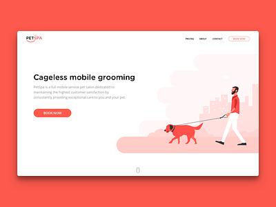 PetSpa - Landing Page illlustration minimal sketch page treatment grooming mobile web website landing page spa pet