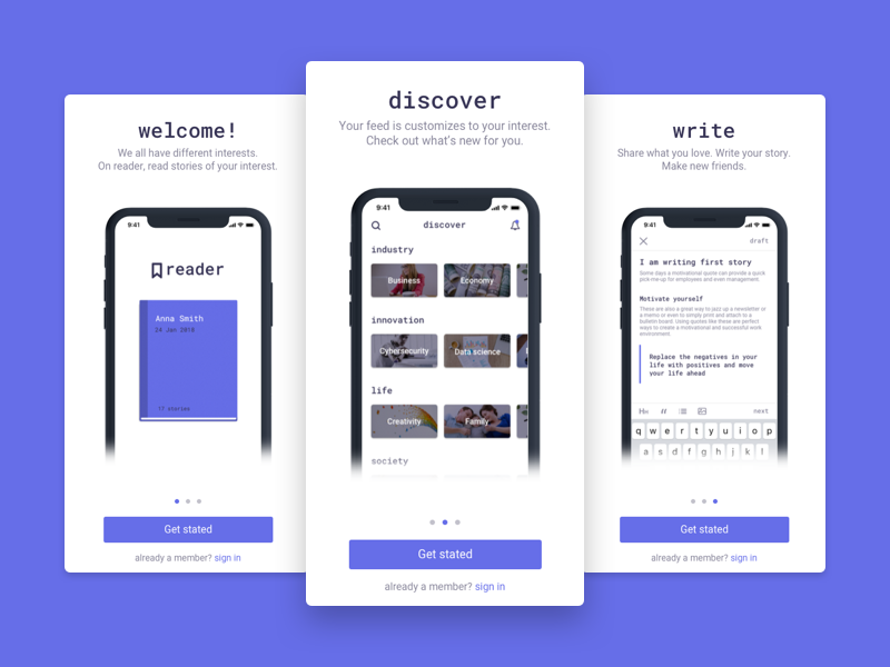 Reader - Onboarding walkthrough onboading story android ios mobile stories product sketch app design article