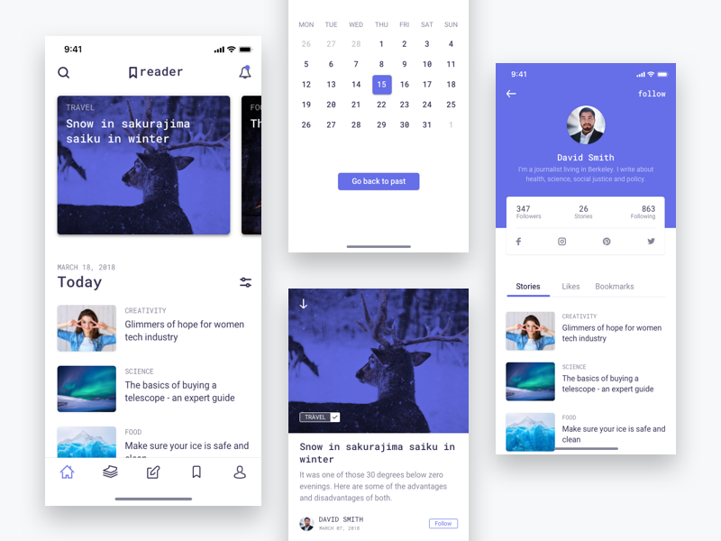 Reader - Stories and Author Profile calendar author article sketch stories mobile ios android story calender profile timeline