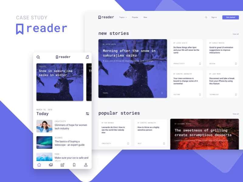 Reader - Case Study case study story author article blog write read sketch app web ios android