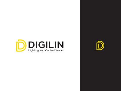 Digilin flat icon vector illustrator logo branding design branding type typography design