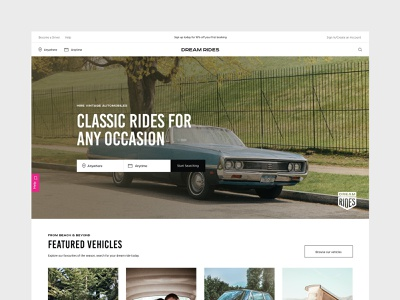 Dream Rides rental car vintage type website ui ux web typography minimal design