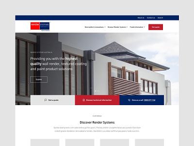 Render Systems Website Concept architecture technical ui ux web website renovation building render minimal design