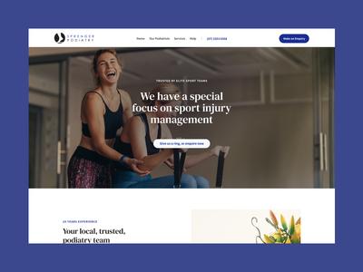 Sprenger Podiatry health typography minimal website web ux ui design