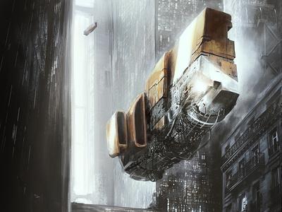 Old Street gamedesign concept art future cyberpunk spaceship science fiction scifi illustration photomanipulation digital art