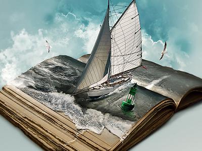 PATNA photo manipulation (speed art) polaus 2to2 illustration conrad old book sea sails speed painting speed art digital art manipulation photoshop