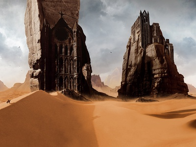 Sand Castle yellow polaus illustration cathedral matte painting desert 2d digital