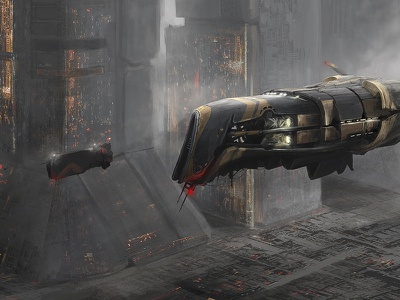 landing poland illustration spaceship city environment art sci fi sci-fi