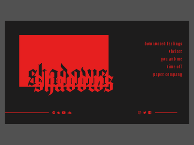 Shadows musician music landing page type illustration lettering branding website typography