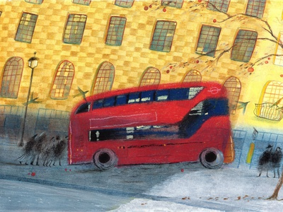 London bus in September city cozy mixedmedia mixed media painting handpainting handpainted colorpencil colourpencil colourful colour colorful yellow red color bus london