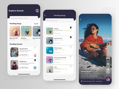 Trending Sounds of Tok sharing social colourful favourites songs songslyrics dashboard ui autoplay video player music app sounds ios app ux app carousel adobexd signup login mobile app design design