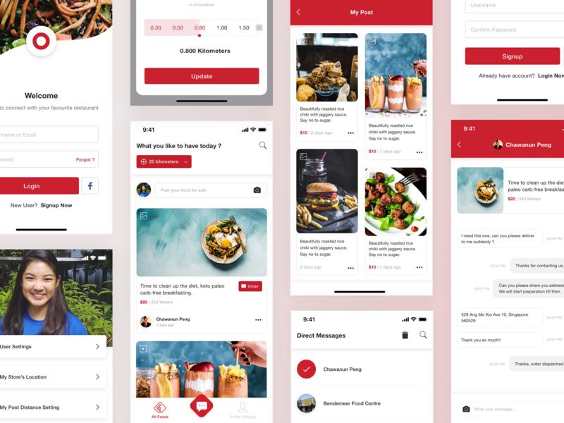 Online Food Ordering login chat food ordering online food mobile app design ios app ui design
