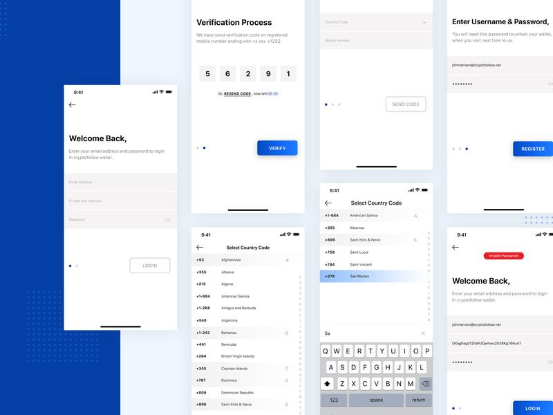 Account Setup Process crypto country signup login ios app mobile app design ux design ui