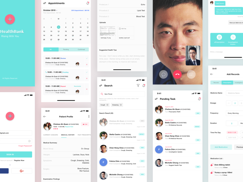 Patient Management App medical app search appointment chat video healthcare doctor app login mobile app design ios app ui design