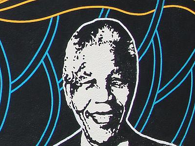 Black Liberation Mural - Detail 4 - Nelson Mandela black liberation nelson mandela mandela nelson paint mural lines liberation black