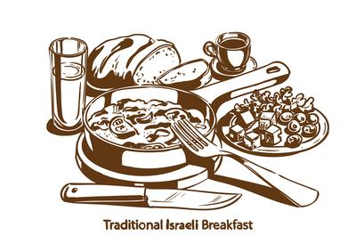 Traditional Israeli breakfast