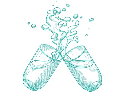 Two glasses of which splashes water