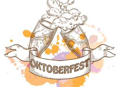 Two beer glasses for octoberfest, sketch style