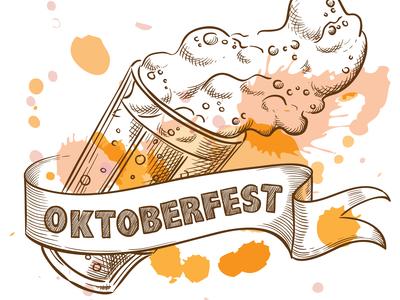Beer glass with splashing foam for oktoberfest, sketch style