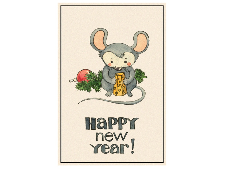 New Year card new year mouse furetree design illustration
