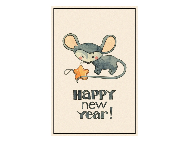 New year card (mouse) watercolor star card newyear mouse illustration design