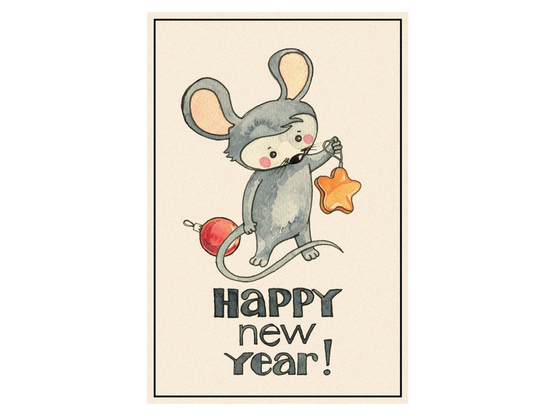 New Year card (mouse) happy watercolor illustration design 2020 mouse new year