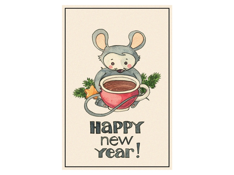 New year card (mouse with cup) card happy mouse 2020 watercolor illustration design new year