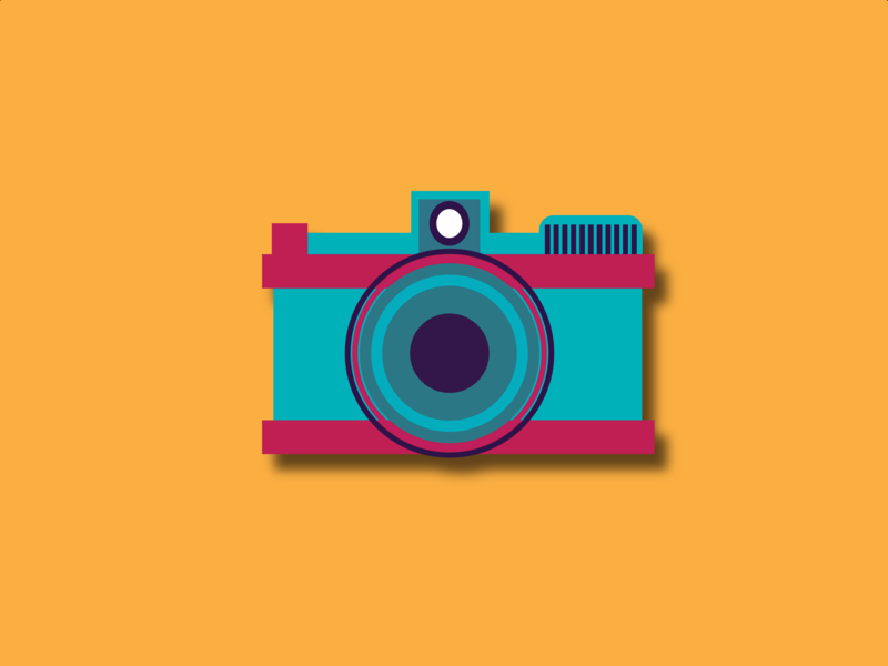 Camera - illustration illustrator photography redesign pink red dribbble vector green yellow camera old camera