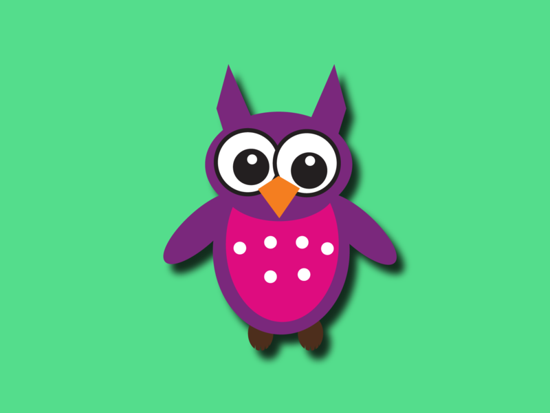Owl - illustration! dribbble nightowl illustrator green orange pink purple black outline owlvector owl
