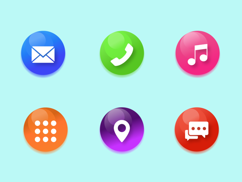 Vector icons! dribbble illustrator vector blue pink red green chat navigation map music phone message