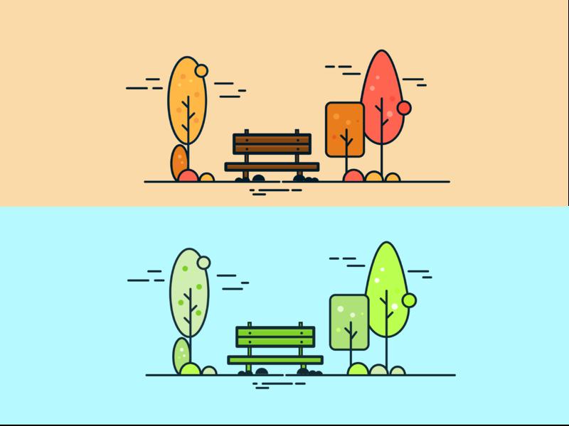 Autumn Wind - illustration illustration vector dribbble table chair tree beautiful weather love flowers colors autumn