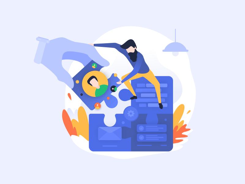 Processes building illustration process users development onboarding illustration