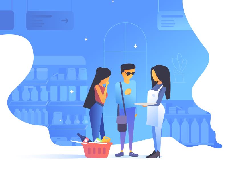 Retail: Illustration branding vector promo demonstration demo consultation consulting retail site company portfolio studio interface illustration design