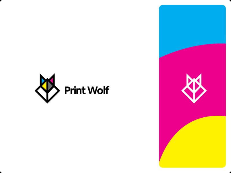 Print Wolf branding design logo design logodesign geometric abstract wolf branding logo cmyk print