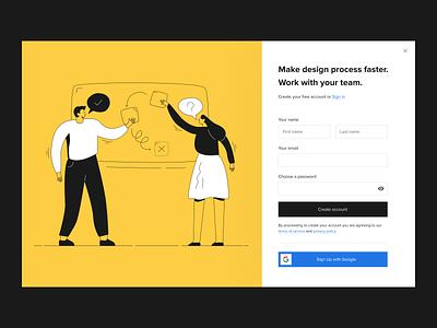 Sign Up form for DailyUI --- 001 website minimal flat web ux vector ui design illustration
