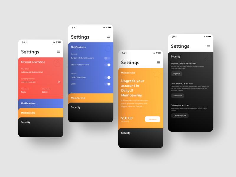 Settings for DailyUI --- 007 app dailyui ux ui flat vector minimal figma design