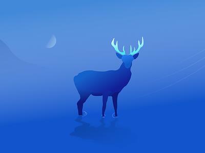 A deer night cold blue deer drawing