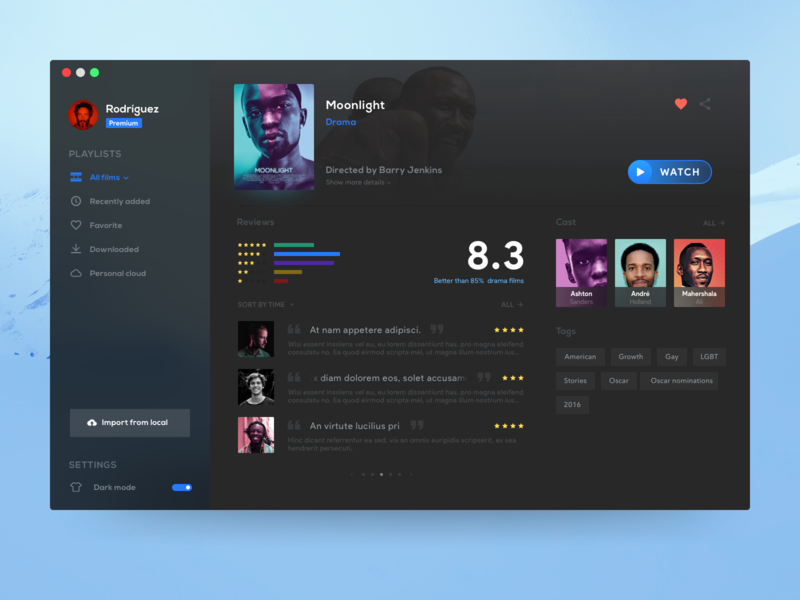 Film library - Dark mode rate dark dashboard software mac movies films