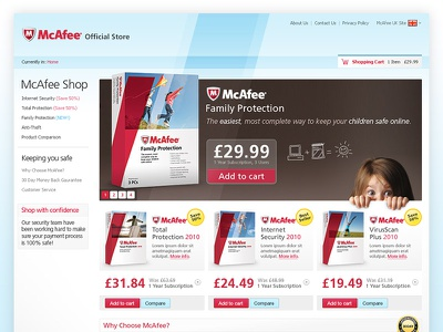 McAfee packaging subscription ecommerce web design anti-virus mcafee