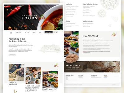 Marketing Foods Redesign illustration marketing drink food food and drink blog wordpress user experience brand redesign website marketing foods