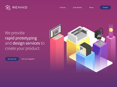 Rennd Concept uxui user experience prototype purple brand illustration interface homepage concept website web design